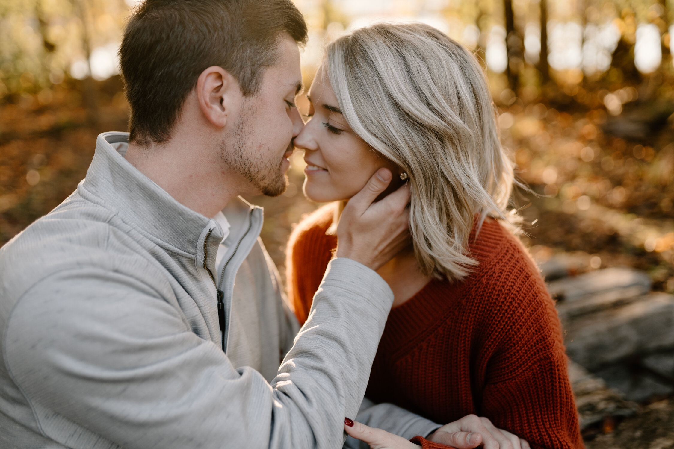 Romantic golden hour engagement photos in Greensboro, NC