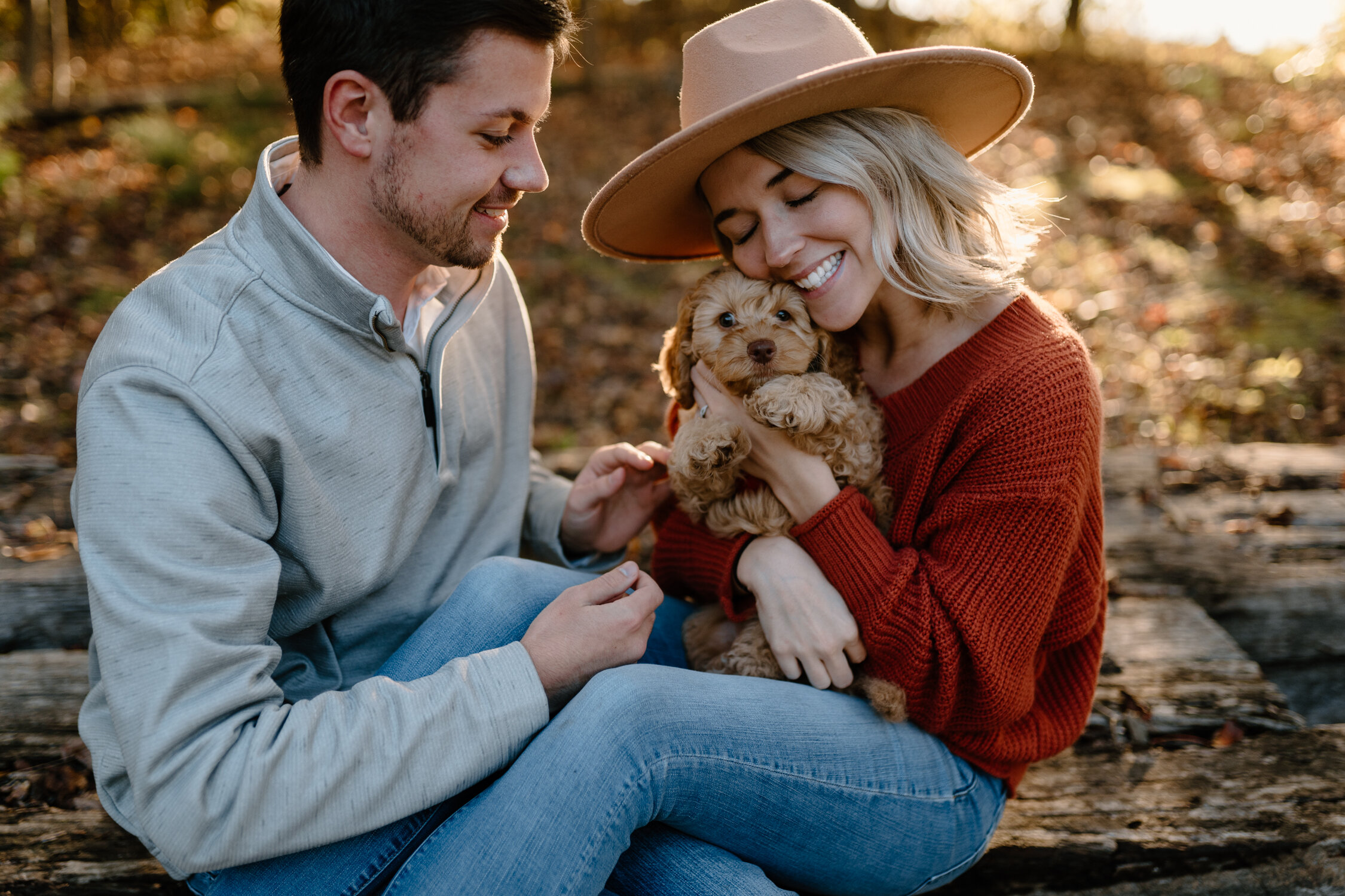 New puppy love at Lake Brandt engagement session