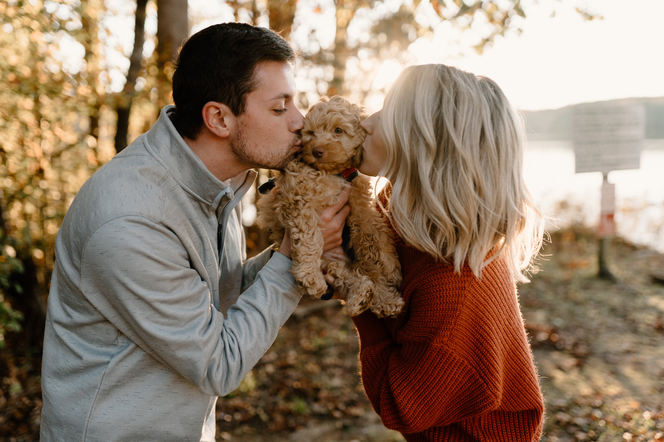 Puppy kisses during fall engagement session in Greensboro, NC