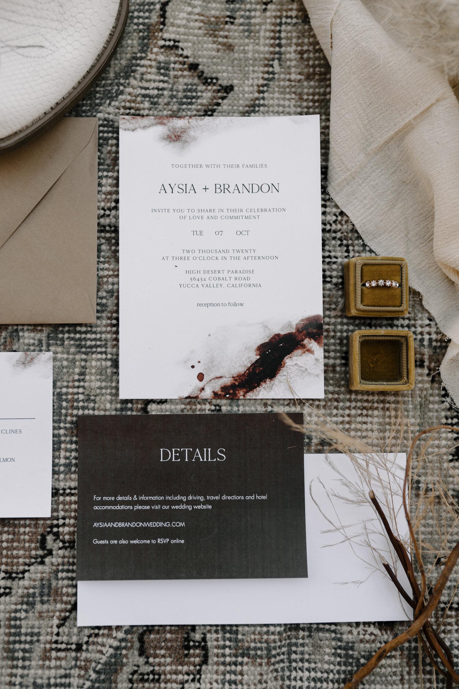 Wedding Invitation suite details