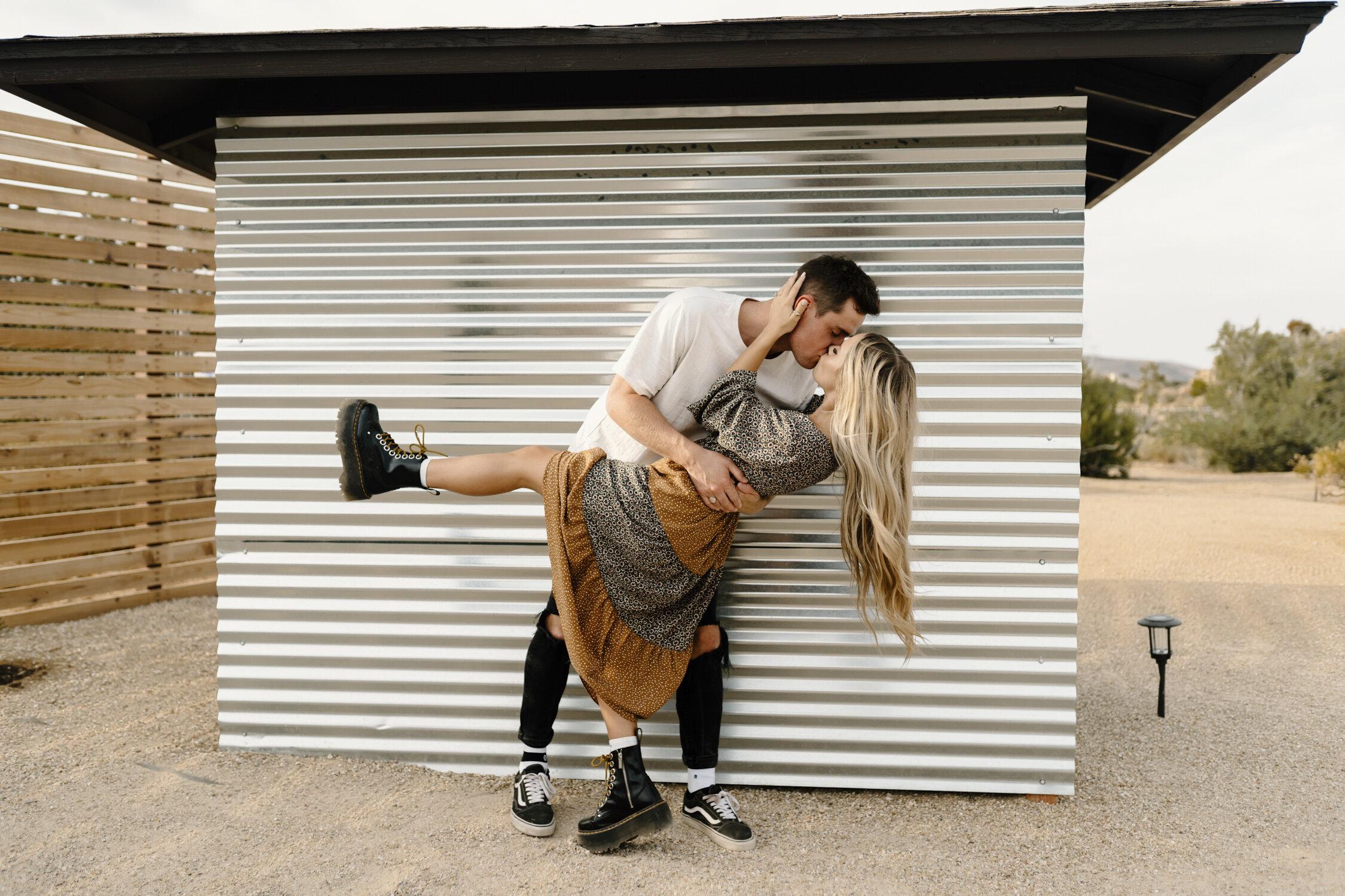 Fun couple in Joshua Tree California at their engagement session   Kayli LaFon Photography
