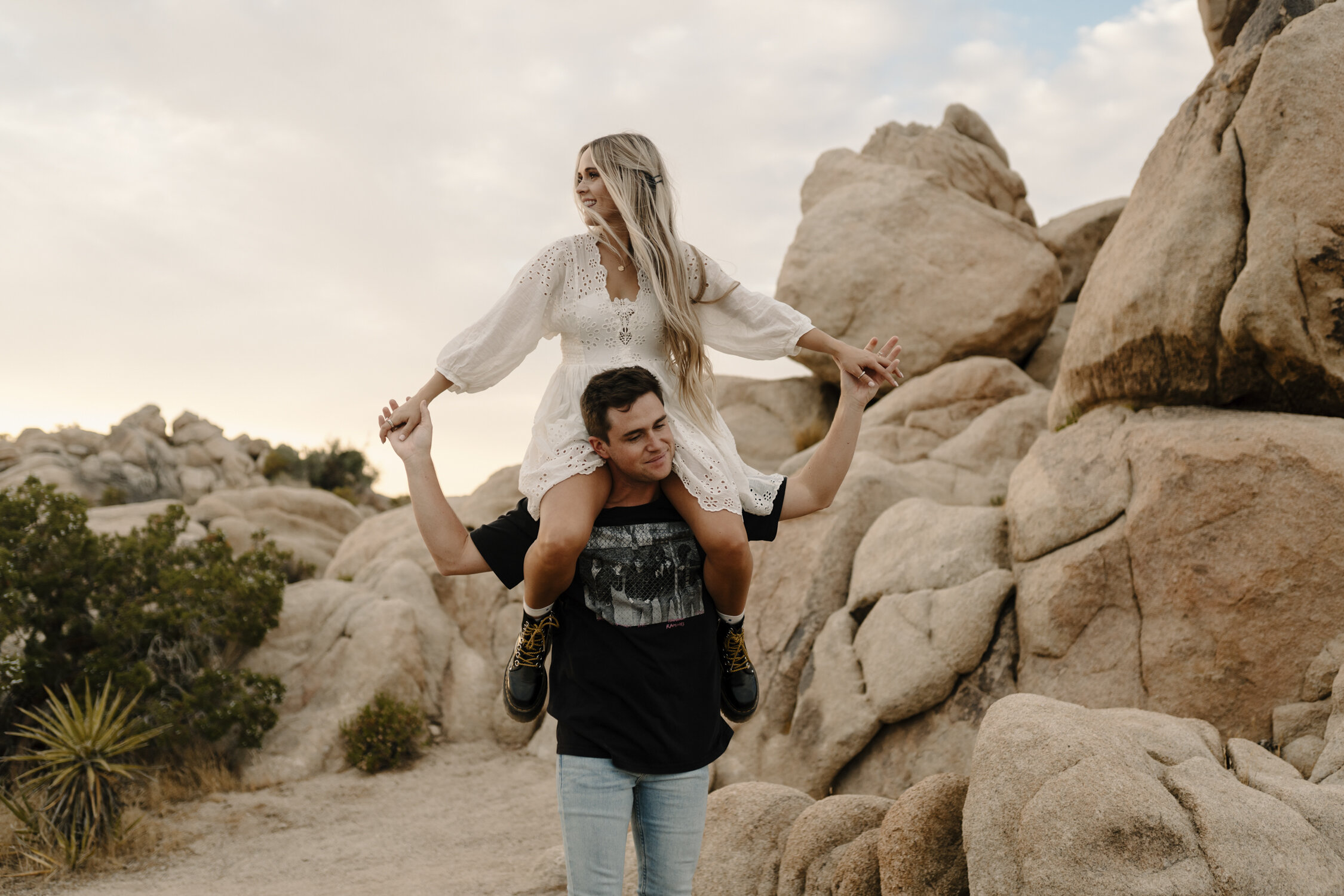 Fun Joshua Tree Engagement Session during Golden Hour by Kayli LaFon Photography