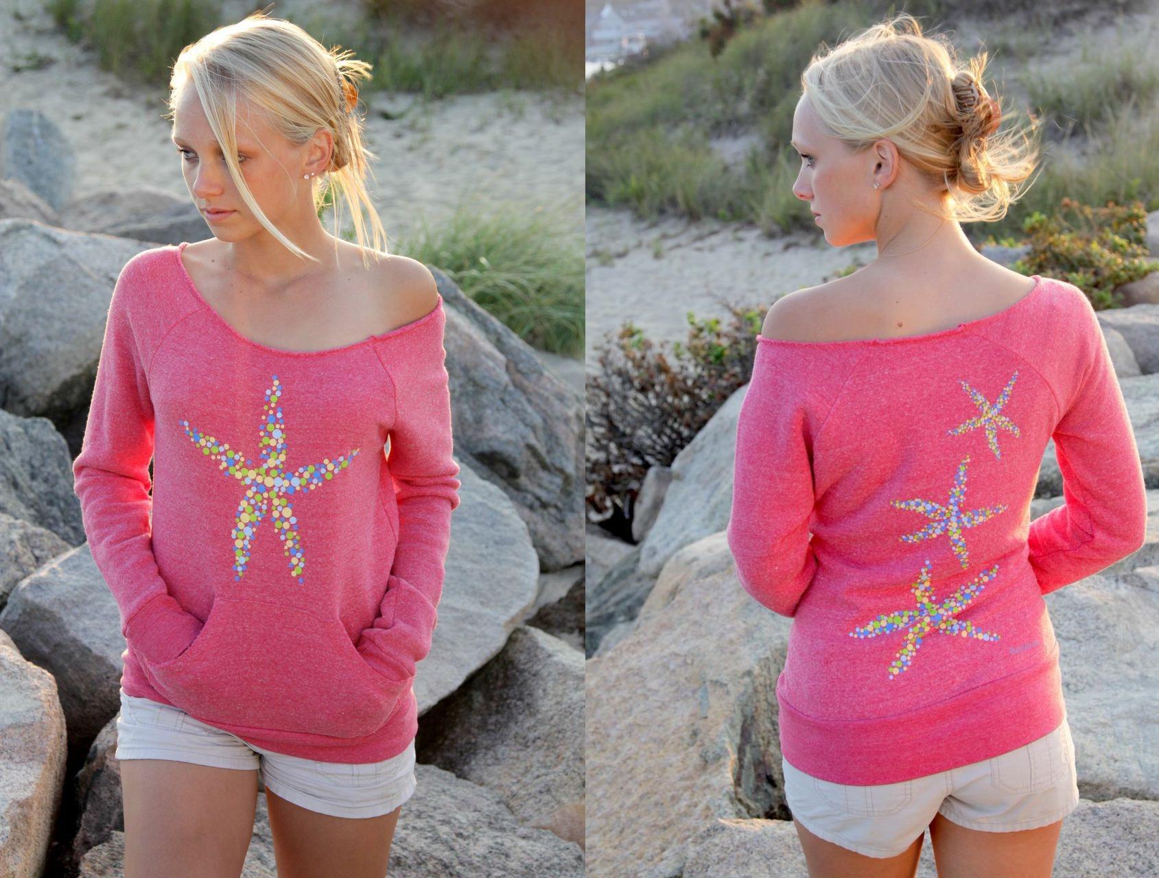 Multi-color starfish fleece pullover