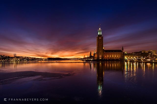 Icon of Stockholm: Stadshuset  The air a fresh -2 degrees, pickup up chill over the ice water of lake Mälaren, enough to slap the fingers waiting for the 30 second exposure.  Sony A7ii + 24mm TS at f/11, 30s, ISO 100