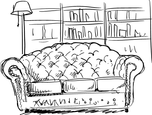Here we can see possibly one of the worst sketches I have ever done of high end leather furniture. I want to believe that the lack of quality is a direct result of the sleep deprivation, but the horrendous loungey lumps seem to tell a different story.