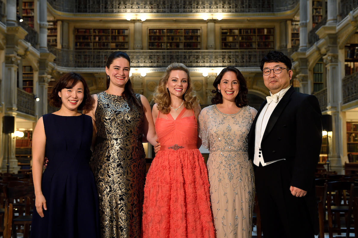 """Force of Destiny: The Life and Music of Rosa Ponselle"" in the George Peabody Library, October 10, 2018. Featured artists from left: Ka Nyoung Yoo, Claire Galloway, Annie Gill, Thea Tullman Moore, and Min Jin."