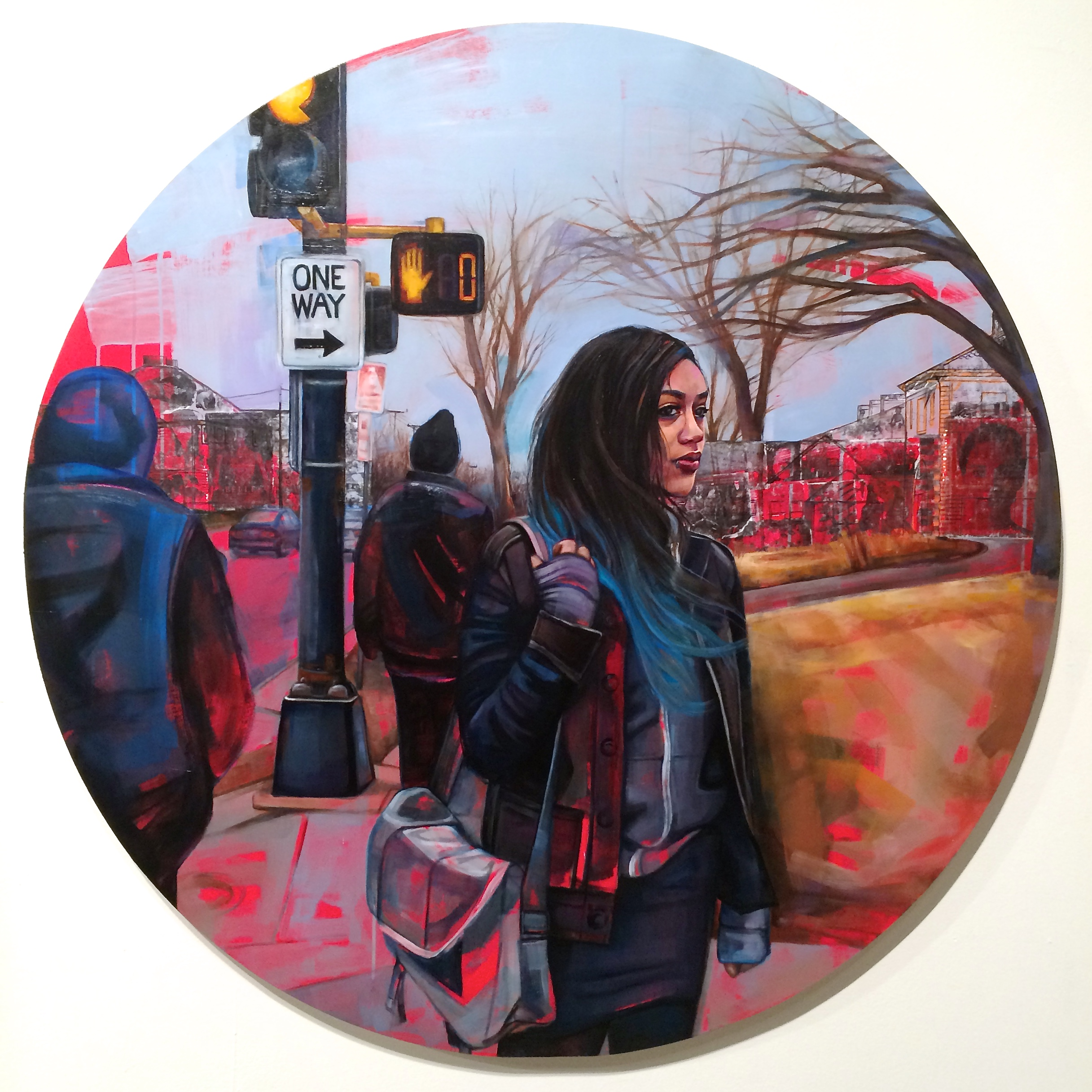 "Of Other Paths (Heterotopia), 48"" diameter, Oil on Panel, 2015   *SOLD"