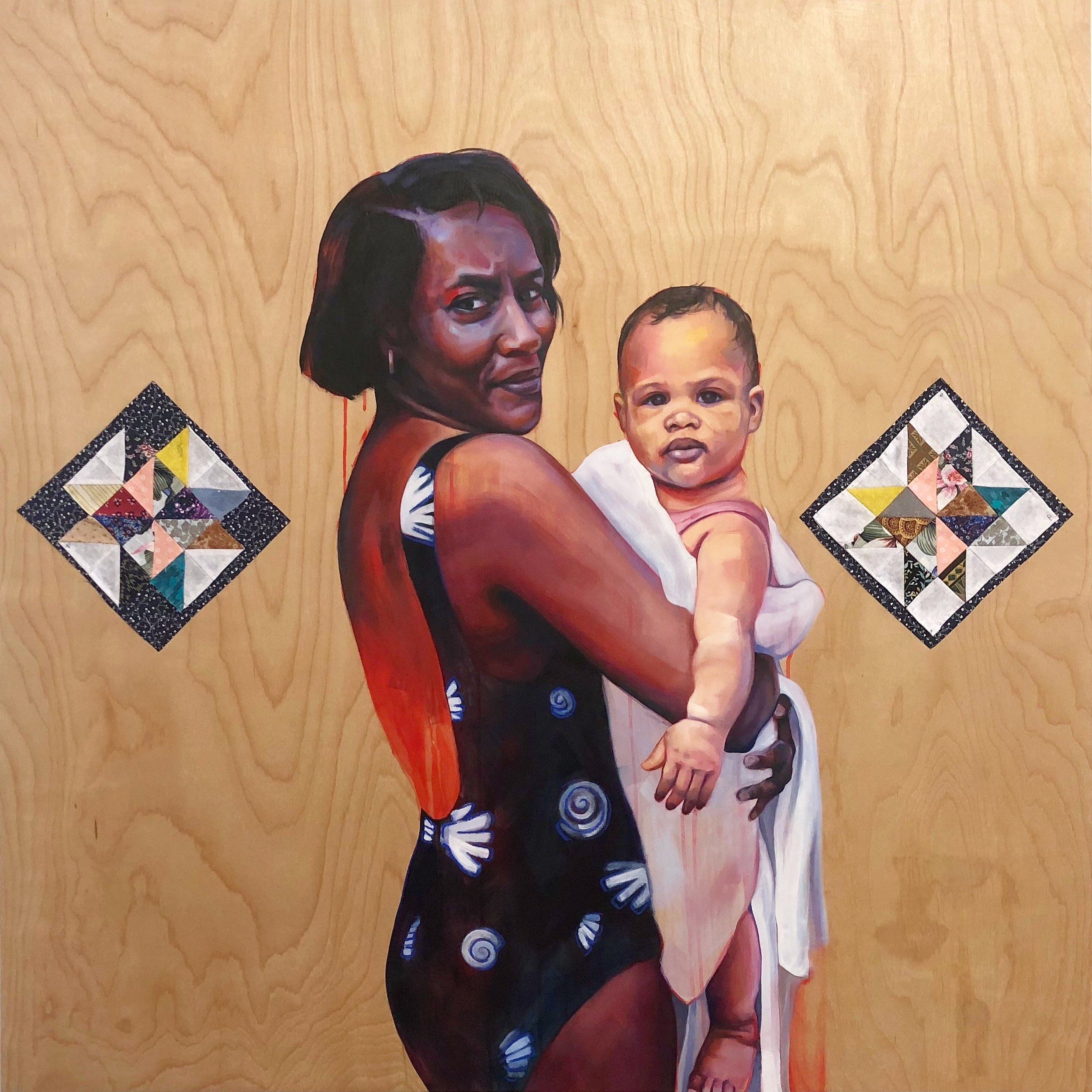 "Grandmother and Child  48"" x 48"", Oil, pastel, acrylic, quilted fabric on panel, 2019"