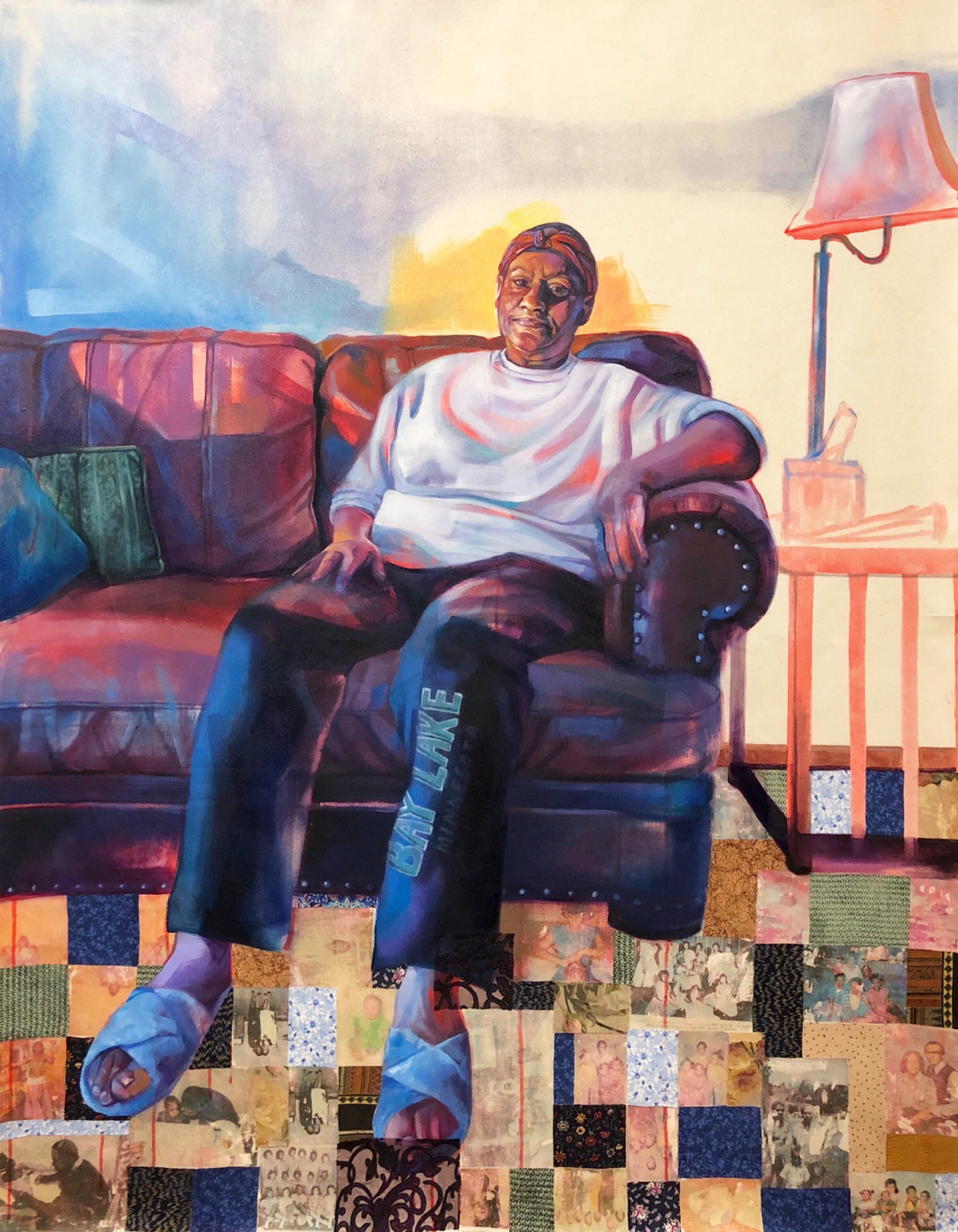 "Ellen Barlow 66"" x 48"" Oil, pastel, acrylic, photo transfer, fabric on canvas, 2019"