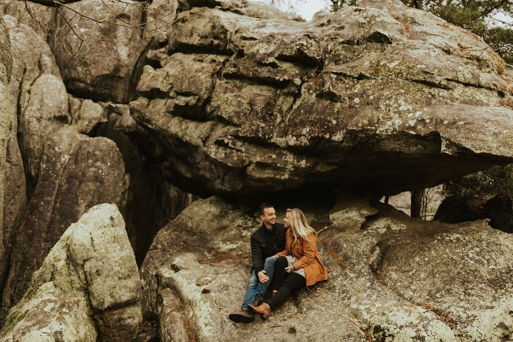 adventurous engagement session at a boulder field in alabama 10.jpg