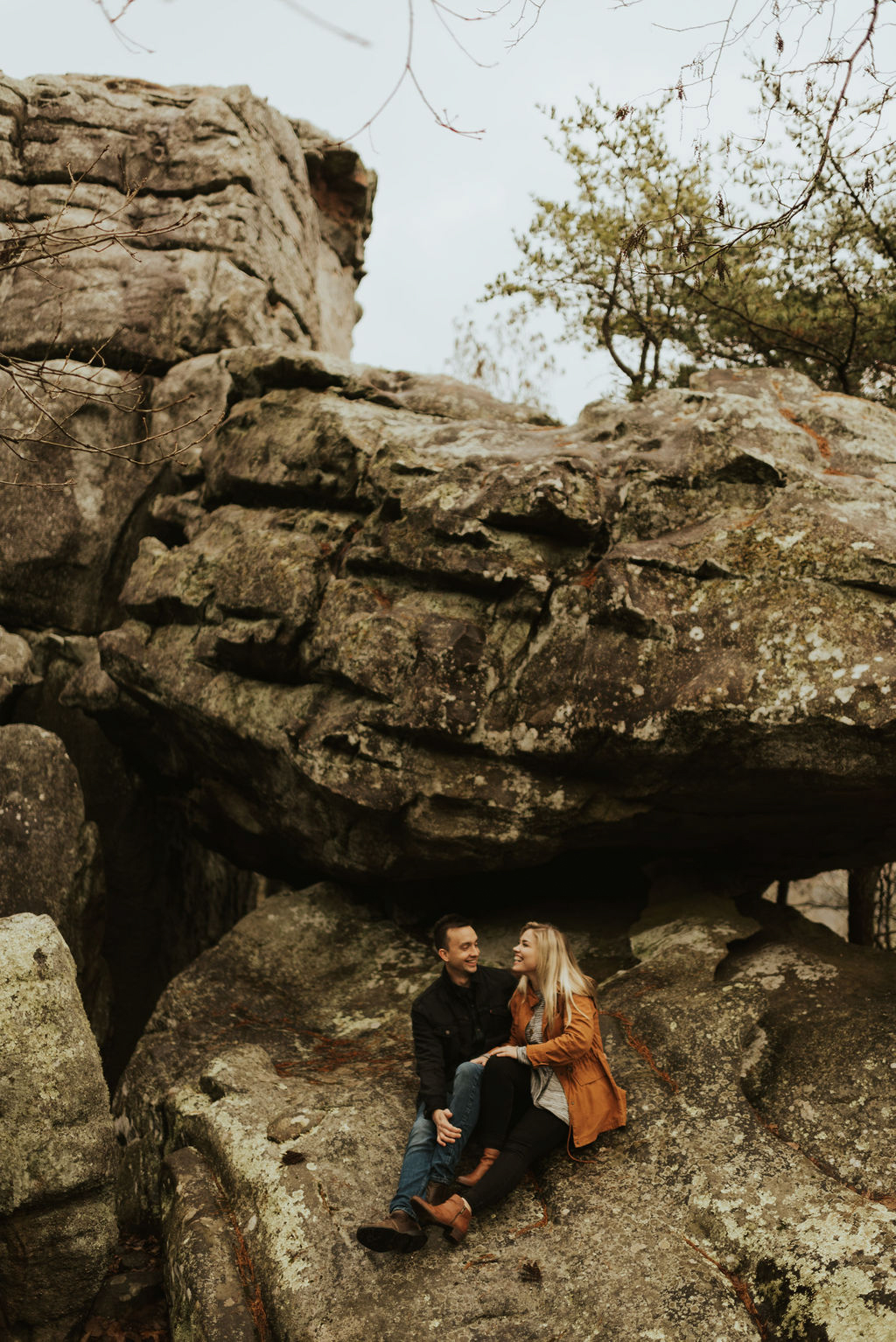 adventurous engagement session at a boulder field in alabama 11.jpg