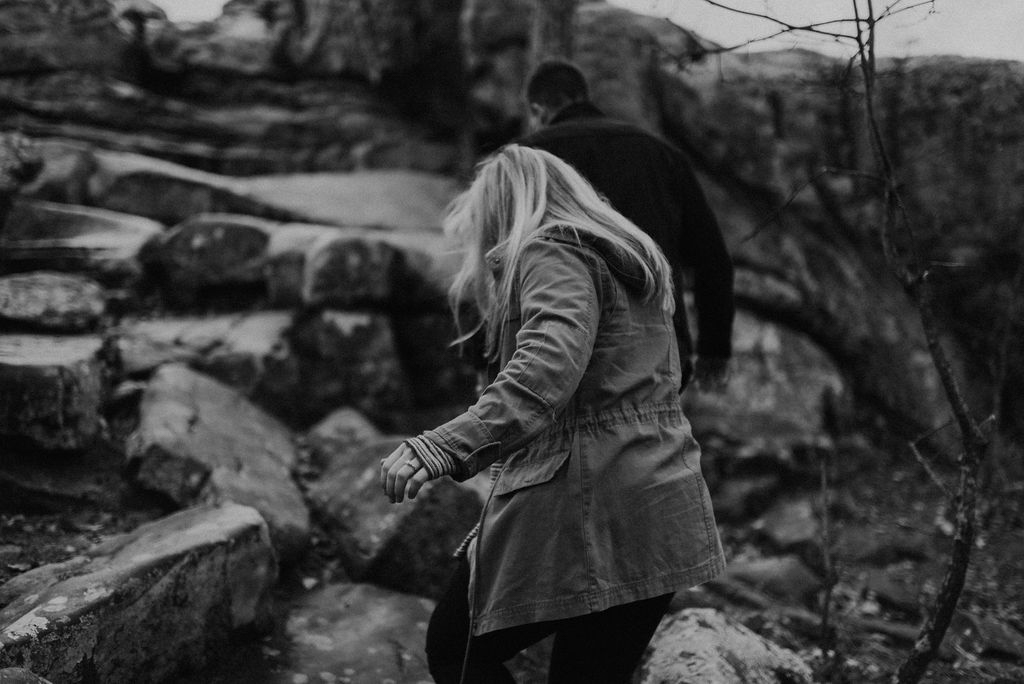 adventurous engagement session at a boulder field in alabama 13.jpg