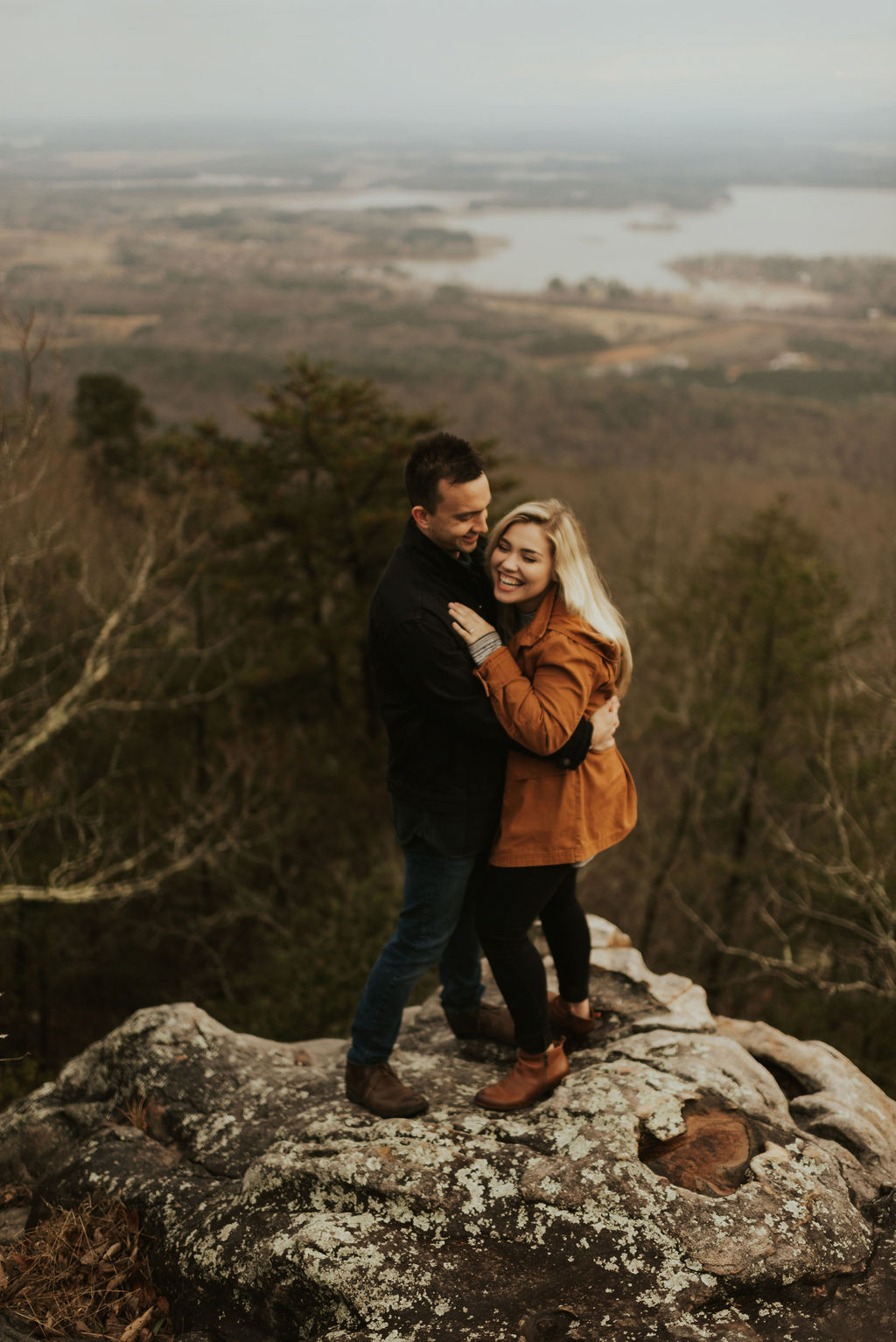 adventurous engagement session at a boulder field in alabama 20.jpg