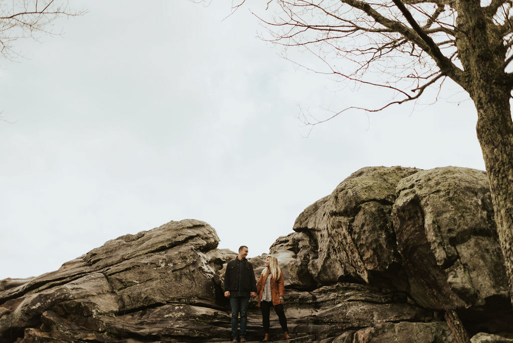 adventurous engagement session at a boulder field in alabama 30.jpg
