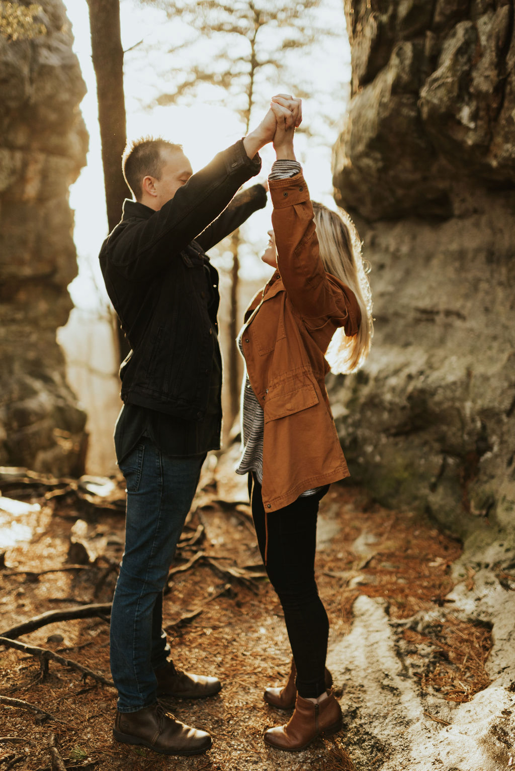 adventurous engagement session at a boulder field in alabama 45.jpg
