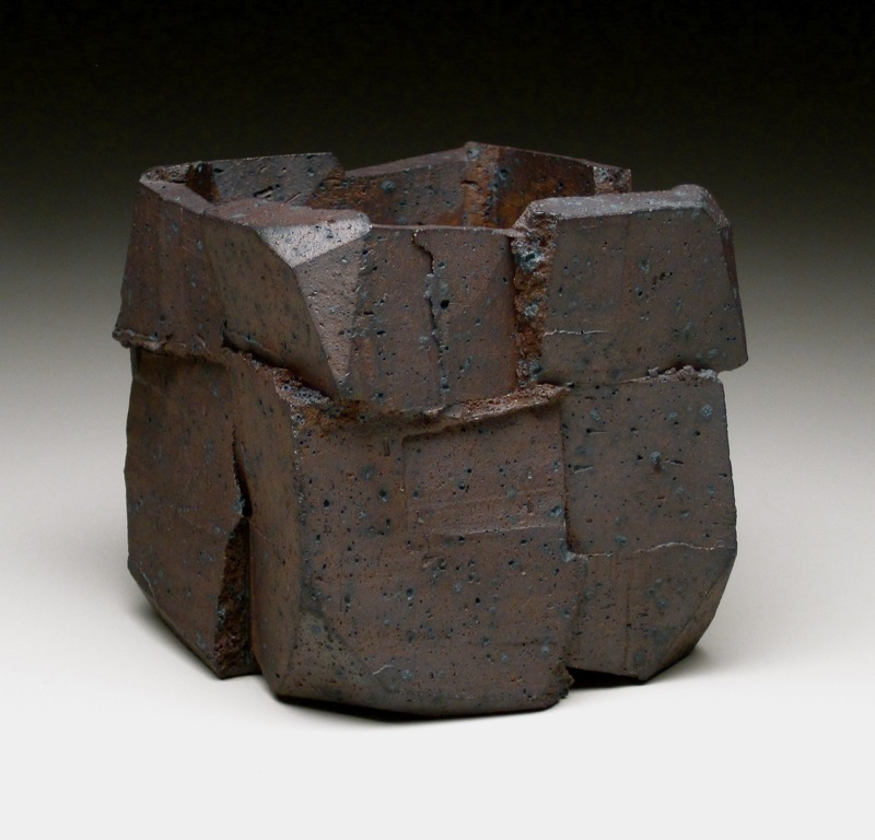"11. Jonathan Cross. Axial Planes. 2010. Native clay, salt-fired. 4"" x 4"" x 4""..jpg"