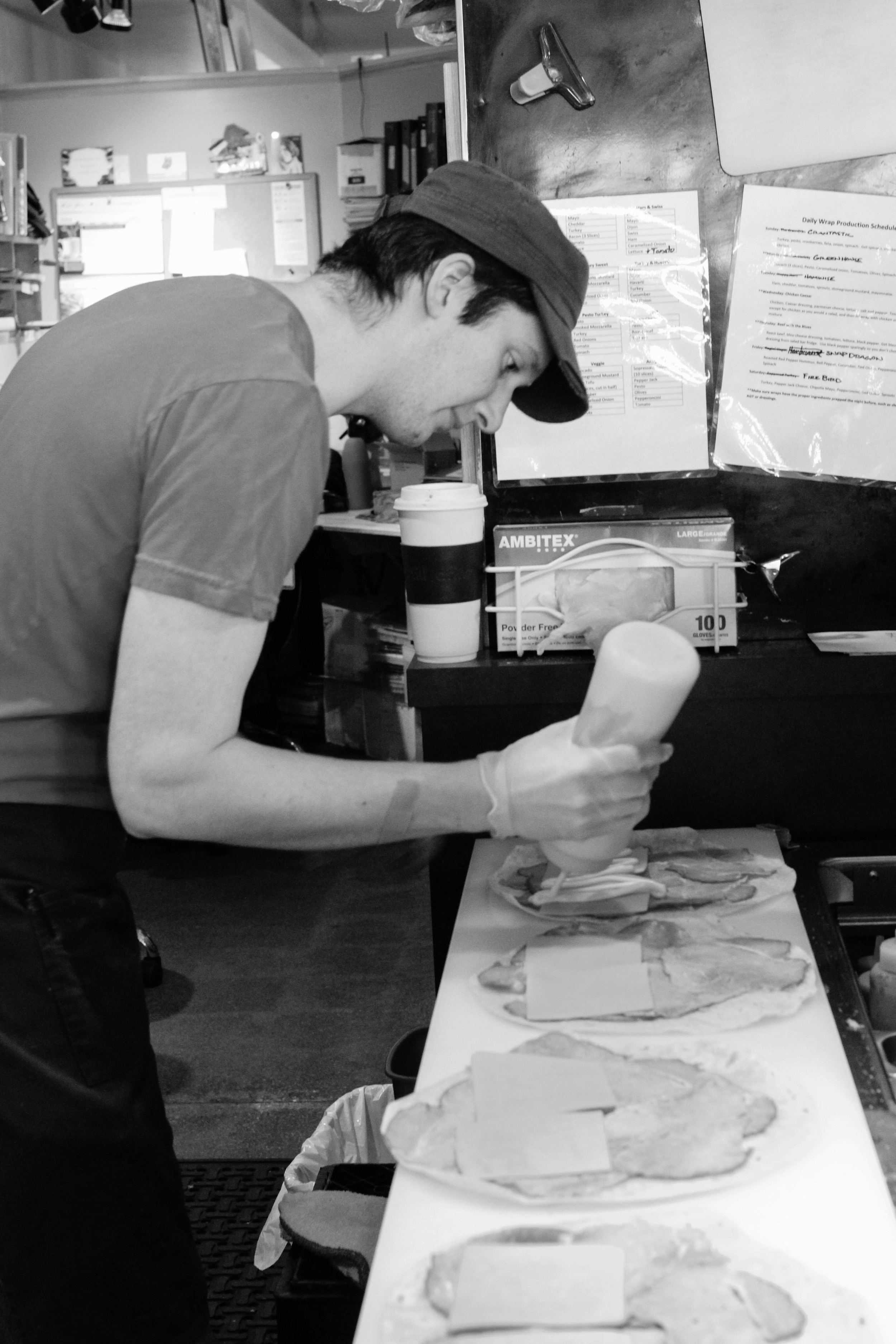 Joe, making some of the most delicious wraps around.