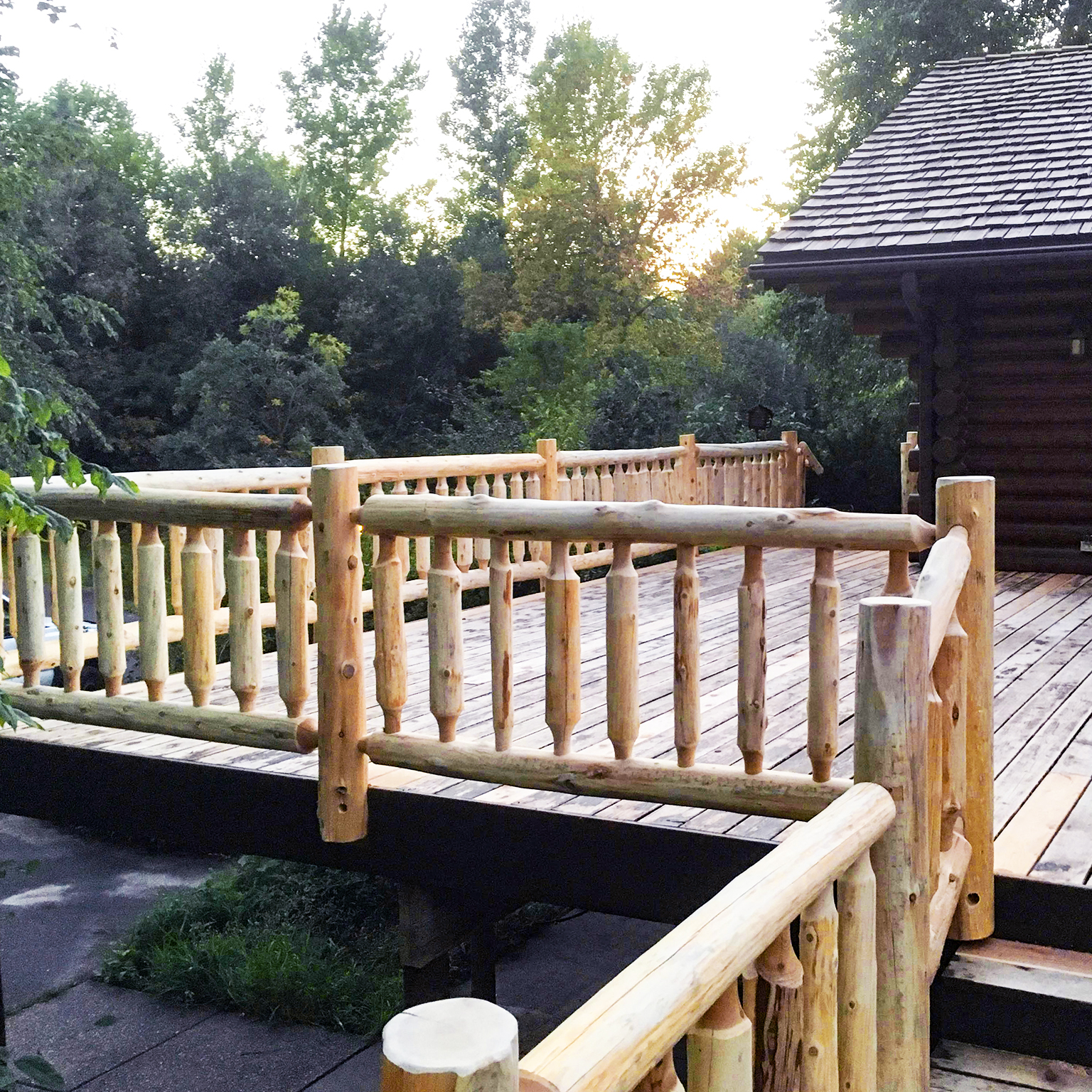 Log Deck Railing and Stairs Soderlunds Woodmill Minnesota_4 Square.jpg