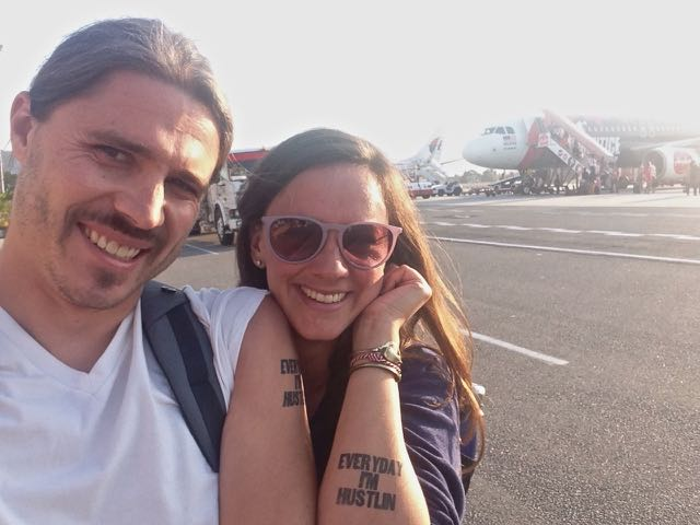 Awesome tats, courtesy of Mia and James, got us through our hustlin' that day.