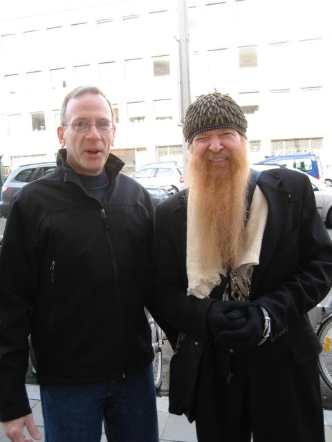 Larry with Billy Gibbons of ZZ Top in Brussels during the beer tour.