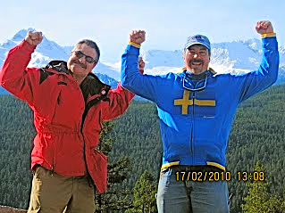 Marty LaFave (L) and Stu at 2010 Winter Olympics in Vancouver promoting BBM!