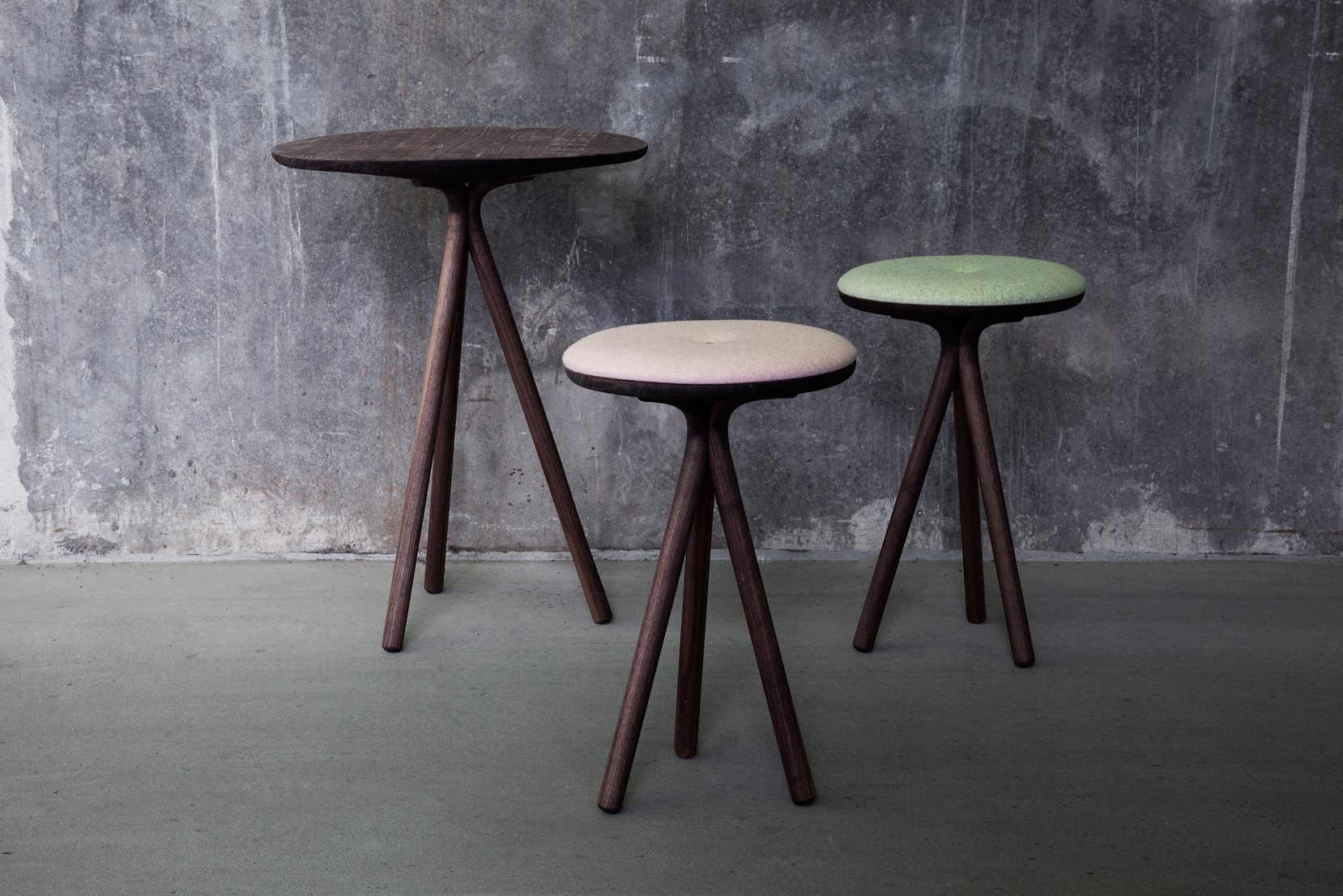 Siri Stools and side table in walnut