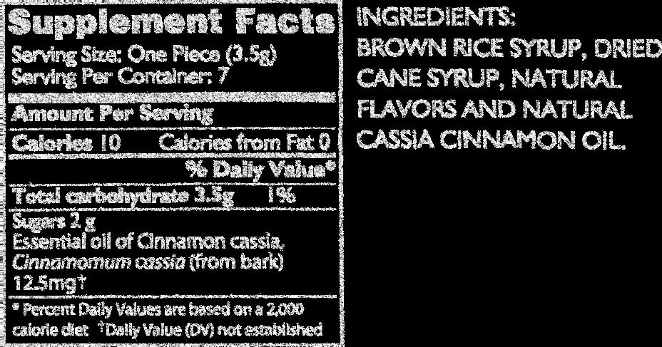 fresh apple cinnamon supplement facts