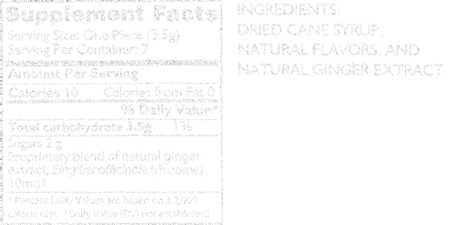 double ginger peach tummydrops supplement facts