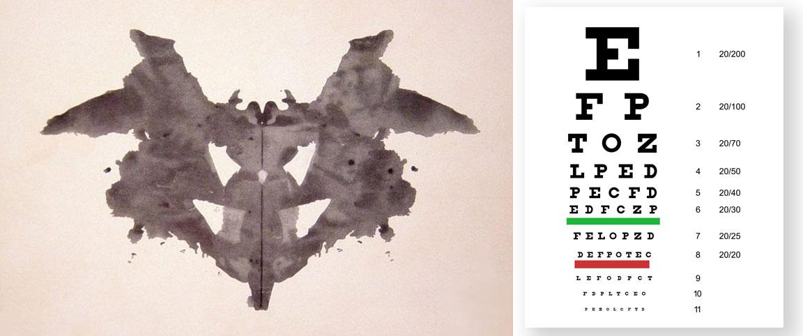 #1 Rorschach card with Snellen chart       http://artinterviewsny.com/view-inside-jonathan-quinn/