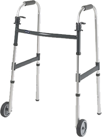 "The Invacare Adult Paddle Release Walker with 5"" Fixed Wheels features a wide, deep frame with a large number of height adjustments and a composite lower side brace for added stability. This walker is light and easy to lift and maneuver. The paddle release mechanism makes folding and closing the walker easy and is ideal for users with dexterity issues. This walker also includes 5"" fixed wheels that help in maneuverability. This walker has a 300lbs weight capacity."