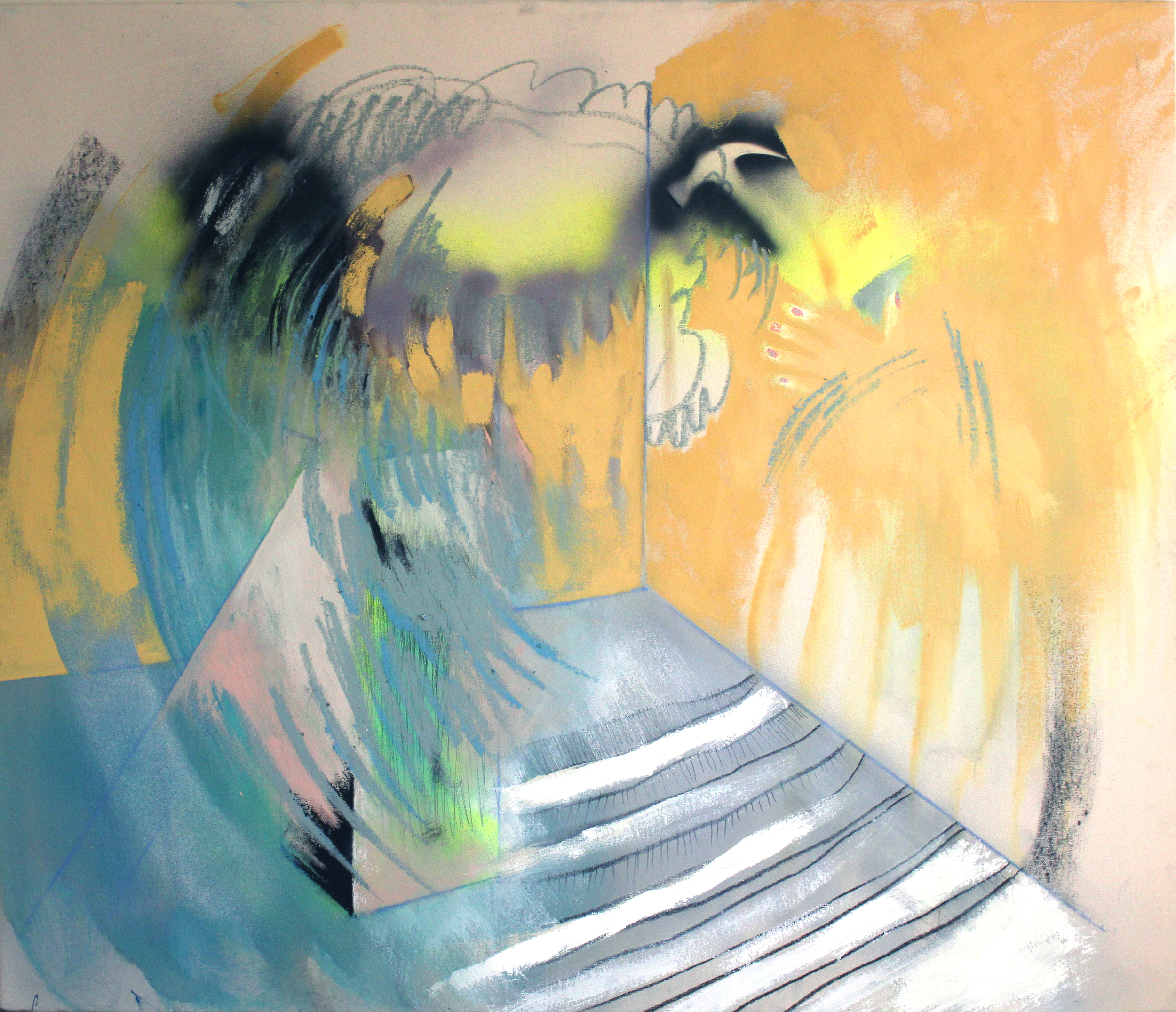 """Yellow Studioin Late Afternoon   53""""x45"""" - Acrylic and crayon on canvas"""