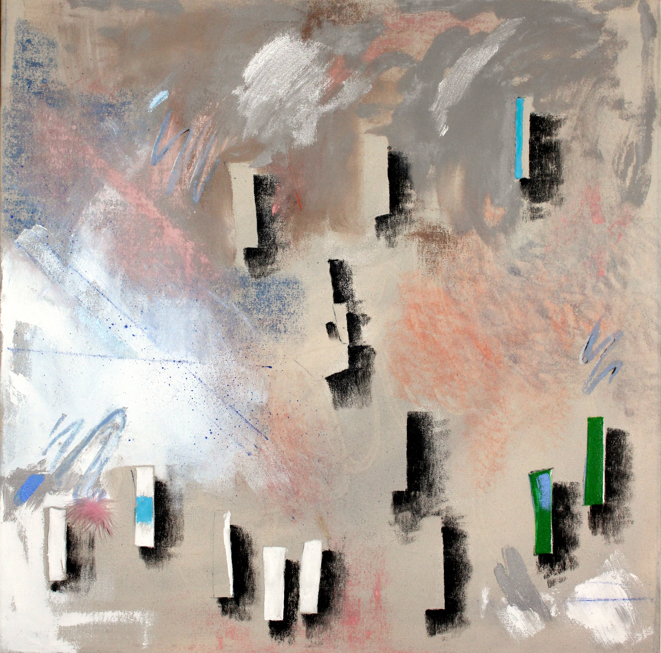 """Some Generic Lobby Art   36""""x36""""Pastel and acrylic on canvas"""