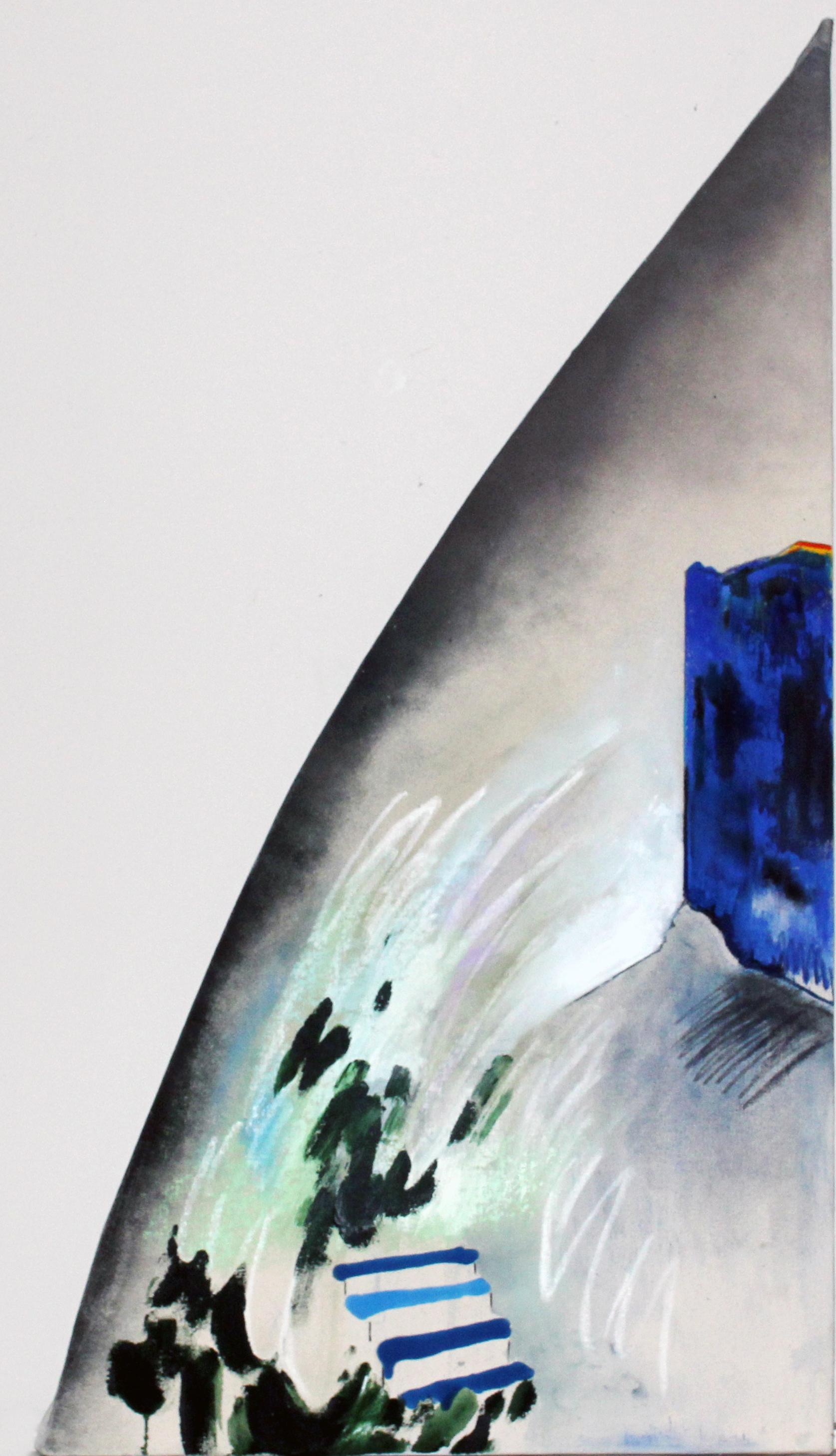 """The Garden Door to Her Studio   48""""x24"""" Pastel and spray paint of canvas"""