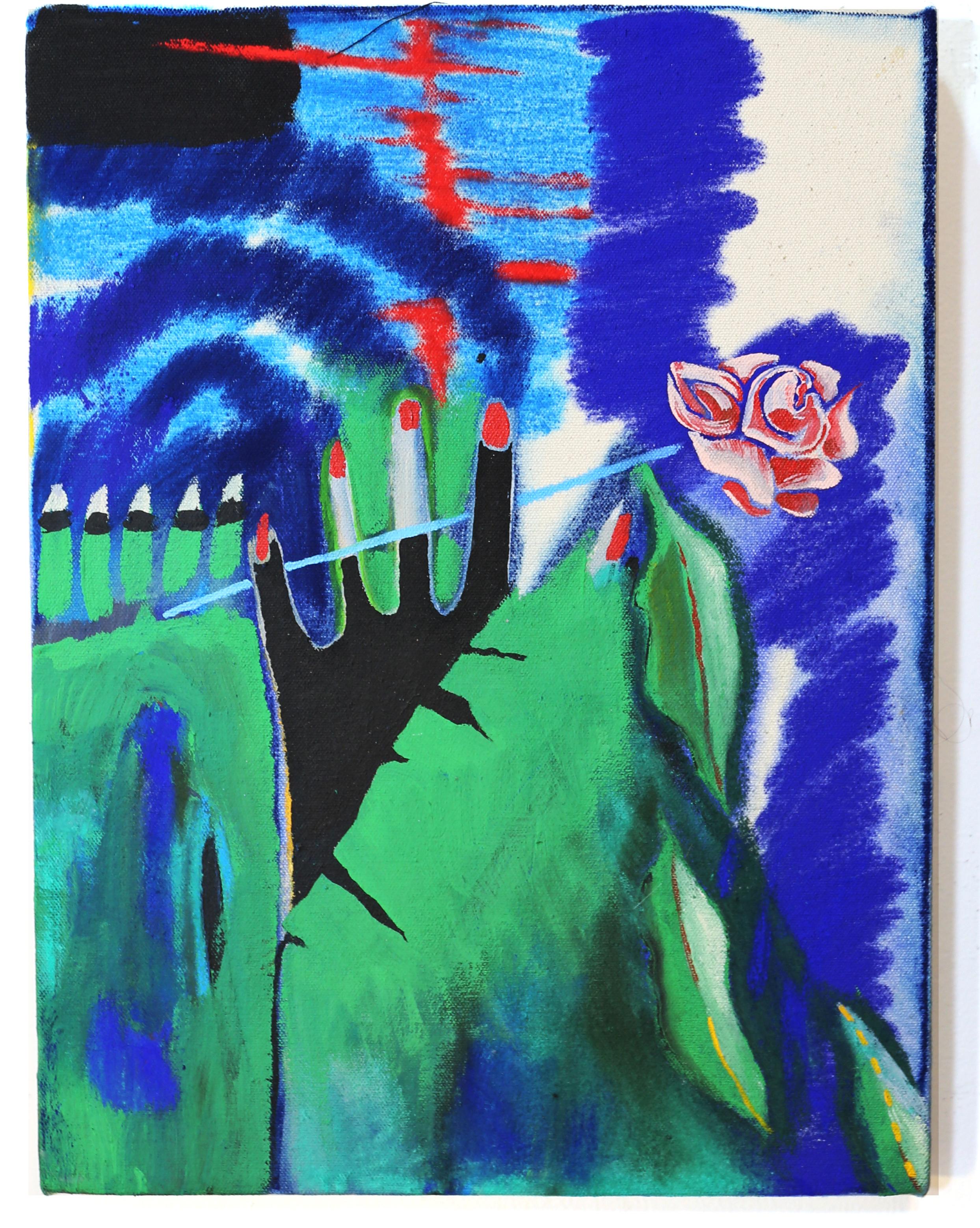 "Snake Handler and Bodega Rose, Pastel on Canvas 14""x20"""