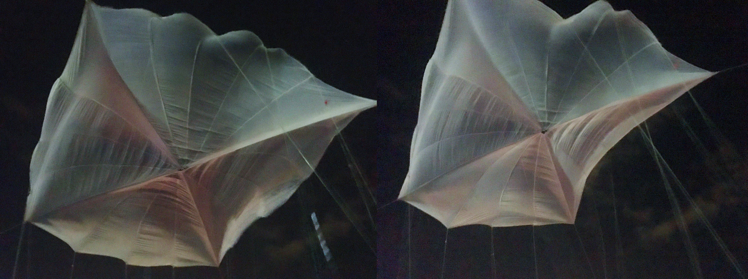 Suspence in Darkness - outdoor installation  Cargo Parachute, Rope, Roof, Sky, Wind, 25'x30'