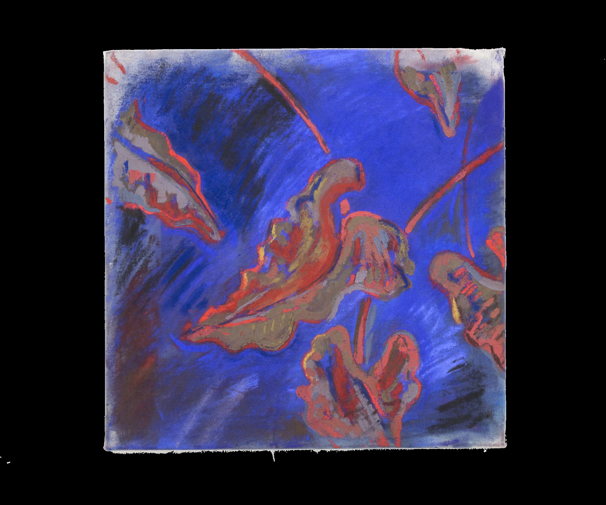 """Snaking Elephant Ear, 20""""x20"""" pastel on canvas"""