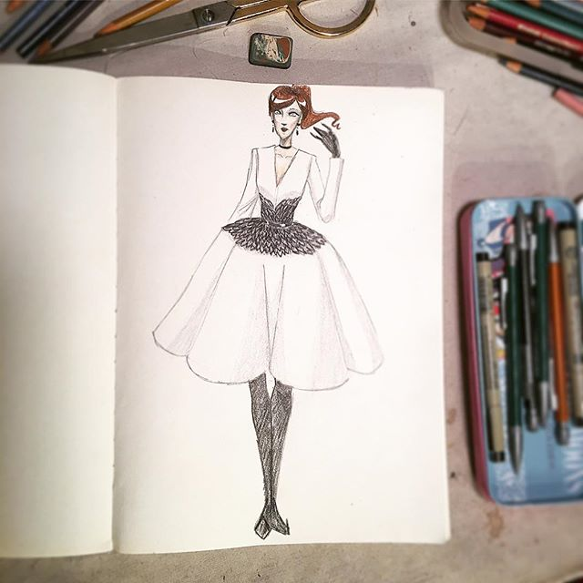 Took a sketch break in the studio today. What does a white witch wear to the office 😜#bkbespoke #brooklynbespoke #fashion #couture #hautecouture #stevemarkson #stevemarksoncouture