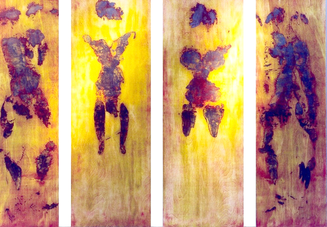 "Fire Couple                                                                                                                                                                                       woodcut images on paper, mounted on prepared board                                                                                                             ink, paper, metallic foil, wood                                                                                                                                                         6' 2"" X 12'    (panels)                                                                                                                                                                     2004"