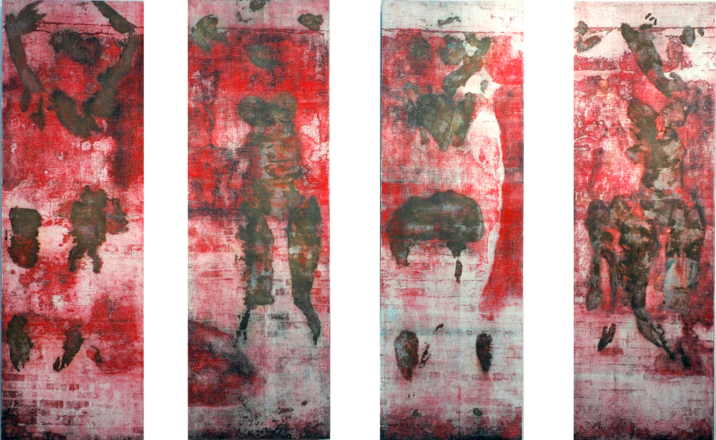 "Celeste                                                                                                                                                                                      woodcut images on paper, mounted on prepared board                                                                                                            ink, paper, metallic foil, wood                                                                                                                                                       6' 2"" X 12'    (4 panels)                                                                                                                                                                     2004"
