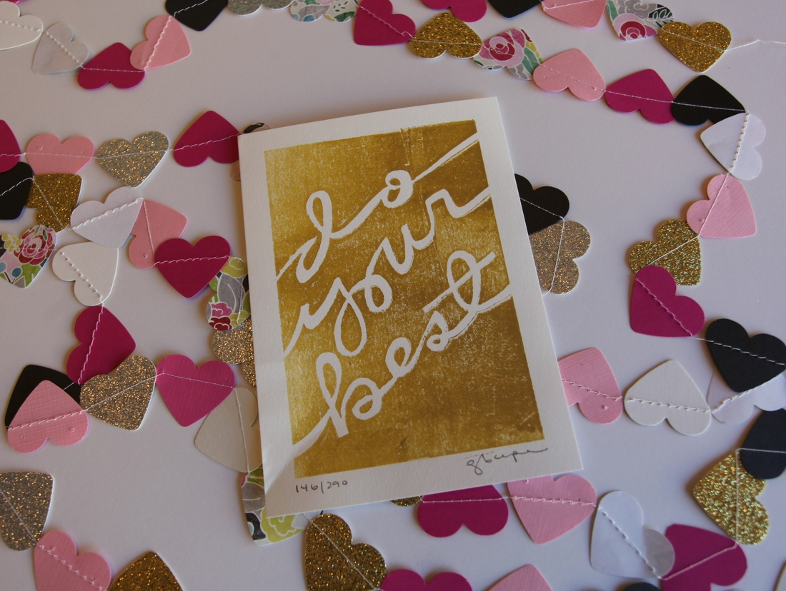 """do your best"" hand stamped art from the lovely Elise Cripe. // via elisejoy.com"