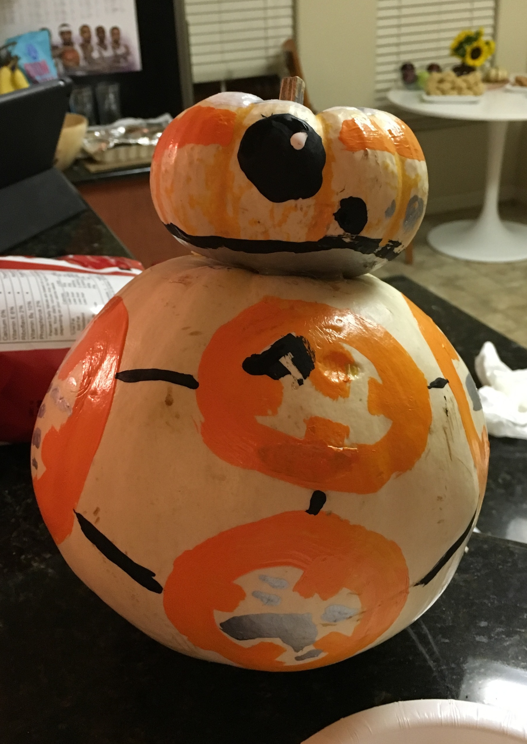 Chase really brought the creativity with his  Star Wars BB-8 replica . I'm so impressed by his painting and crafting skills. The glue gun was used.