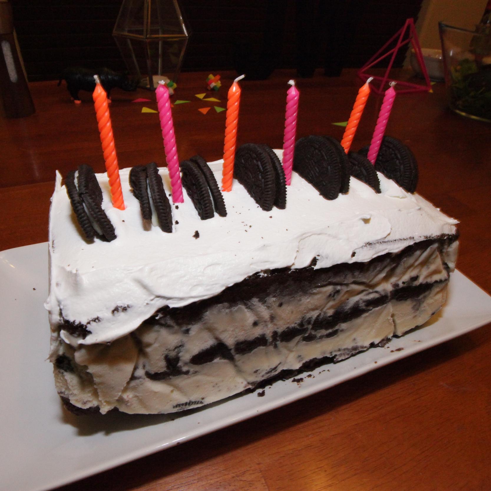 HOMEMADE OREO ICE CREAM BDAY CAKE. - MAR. 2015