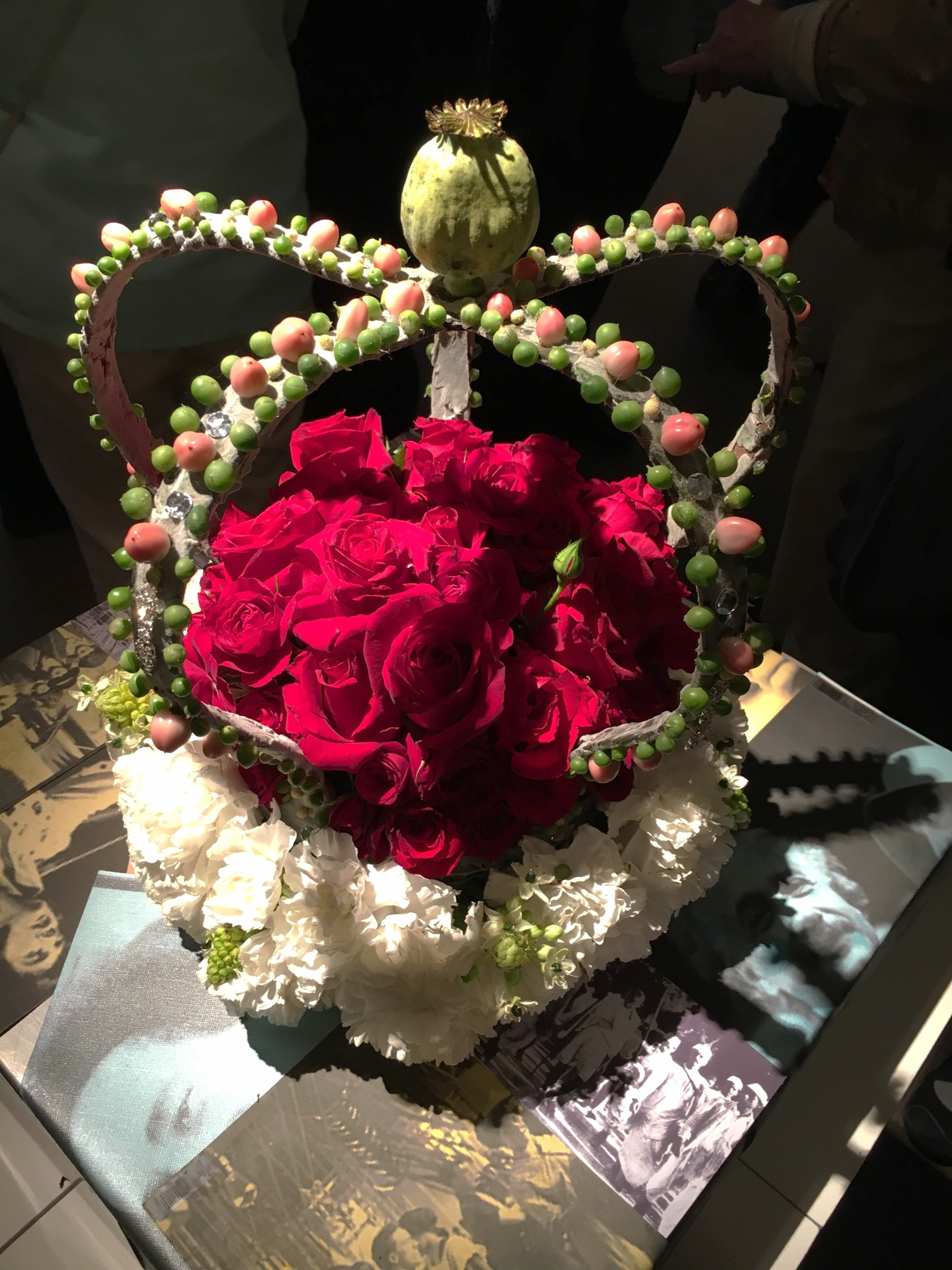"""Those tiny green balls are from a strand of a """"string of pearls"""" succulent! The florist was there with his piece, and many people were asking him questions about his work."""