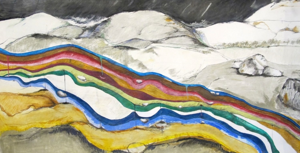 Underpinning , 2011 Charcoal, watercolor and pencil on paper 36 x 69 in. (91.44 x 175.26 cm)