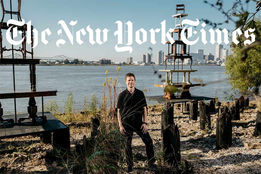 "In New Orleans, a Curator Guides 73 Artists Toward Higher Ground - PRESS | THE NEW YORK TIMESNovember 26th, 2017 - Trevor Schoonmaker, the artistic director of ""Prospect.4,"" near Jennifer Odem's ""Rising Tables,"" an art installation on a bank of the Mississippi River.READ MORE ▸"