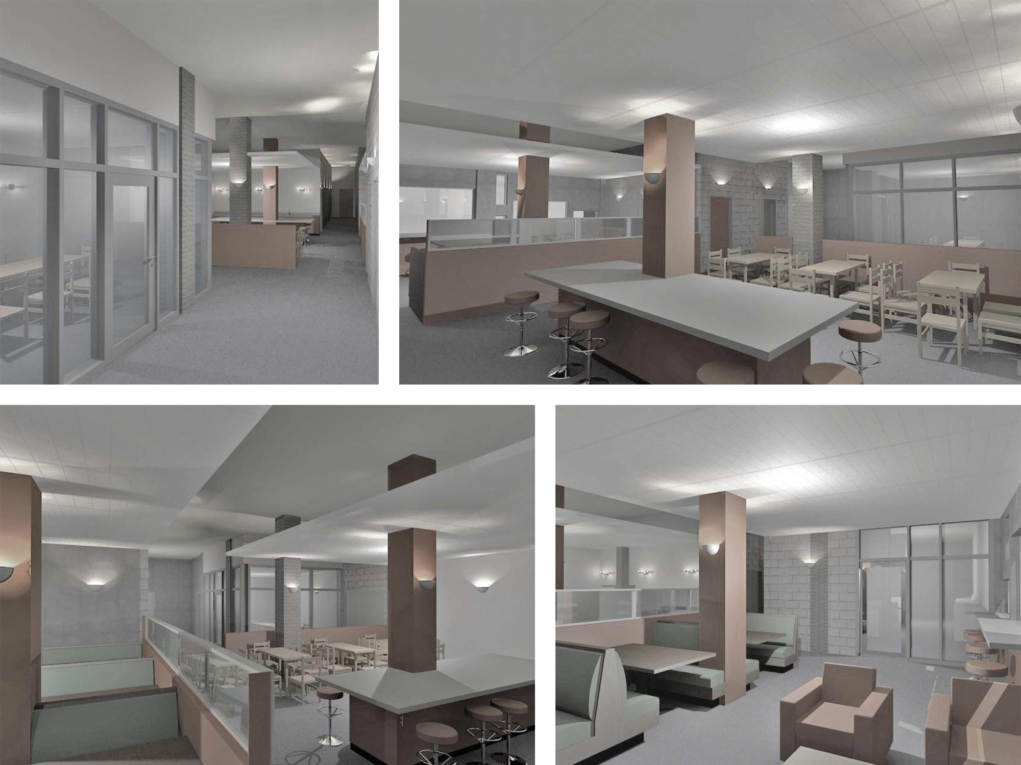 This project is designed to transform the dreary and utilitarian basement of a 1960's dormitory building into a vibrant, light-filled and fully-accessible center for student study and gathering.