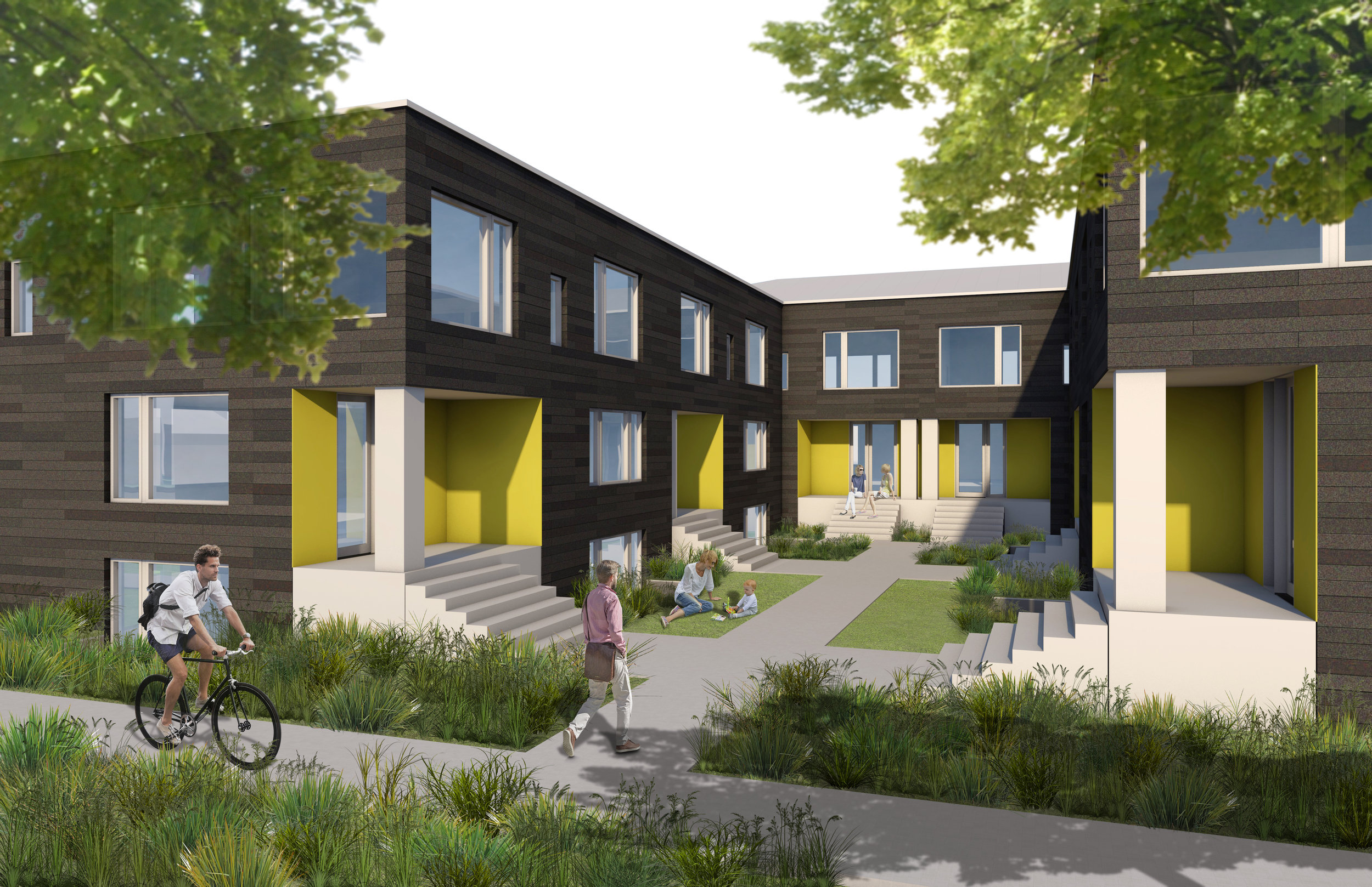 Small scale courtyard apartments like these would be allowed in urban centers and villages