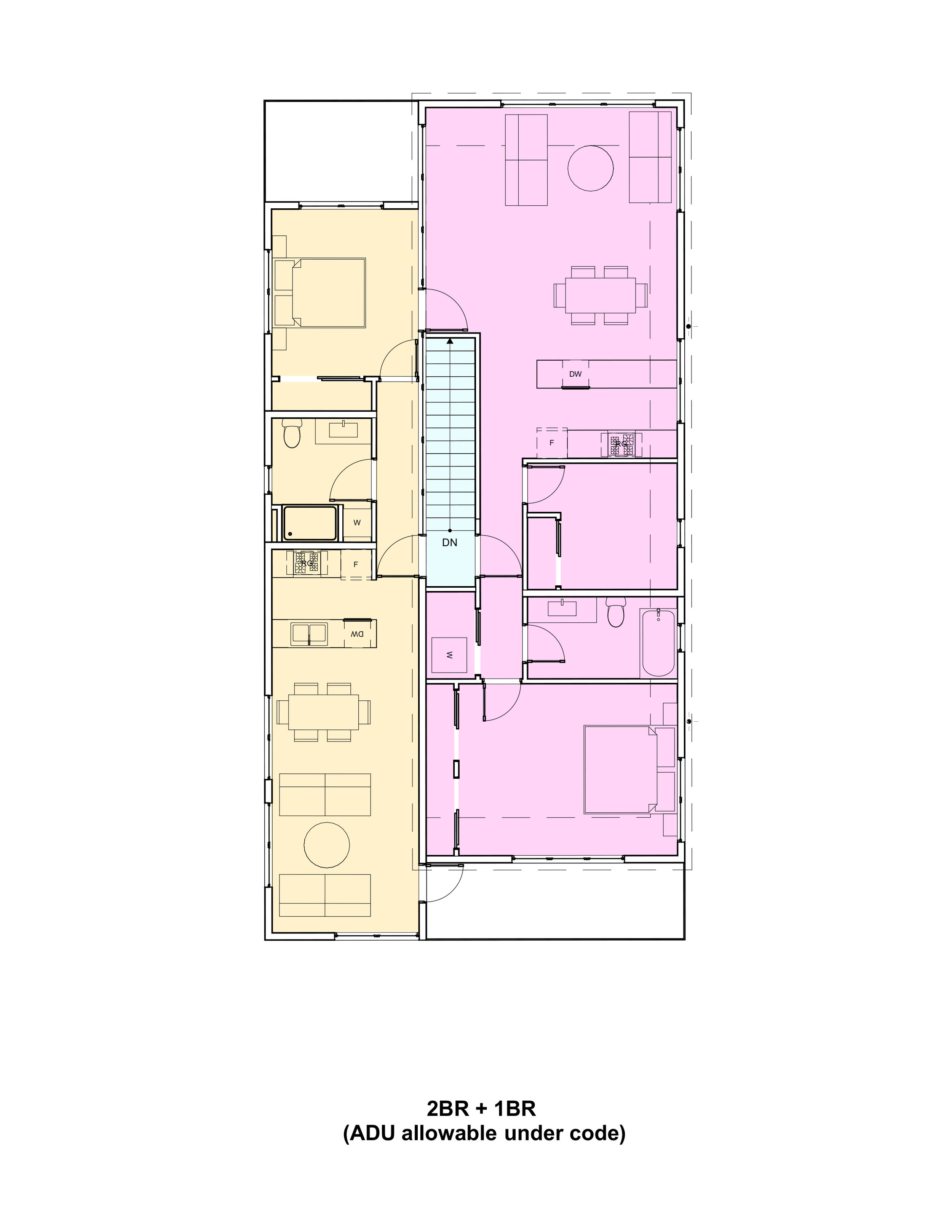 Here is a second story plan, with a primary and accessory unit. could easily be a 3br and studio apartment