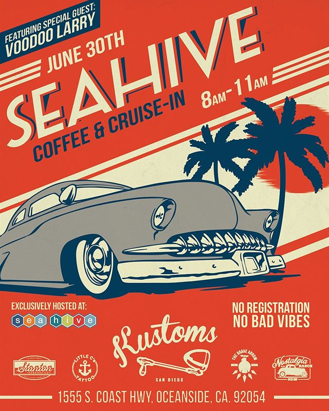 Sunday June 30th is another epic Sunday morning coffee and cruise-in at @seahive presented by @kustomsofsandiego #seahivecoffeecruisein #kustomkulture  #stantonhandcrafted