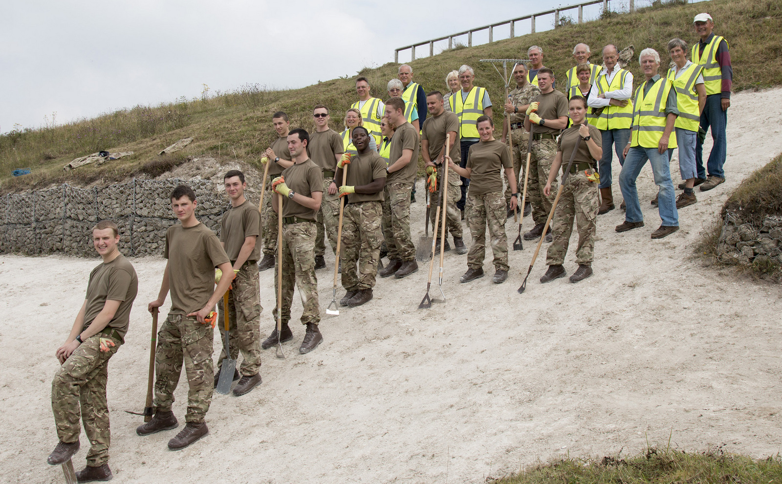 RAF and civilian volunteers after working together to clean Whiteleaf Cross in the Chilterns
